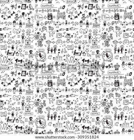 Family seamless pattern child and pets monochrome. Big collection of family symbols. Black and white vector illustration. EPS 8. - stock vector