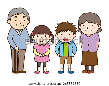Family set / Grandchildren and grandparent - stock vector