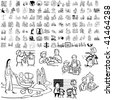 Family set of black sketch. Part 5-3. Isolated groups and layers. - stock vector