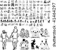 Family set of black sketch. Part 8-3. Isolated groups and layers. - stock photo
