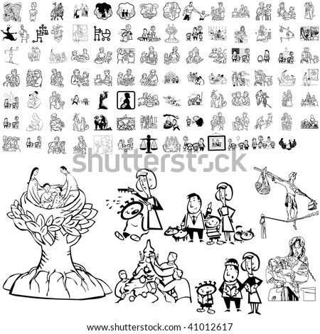 Family set of black sketch. Part 5-2. Isolated groups and layers. - stock vector