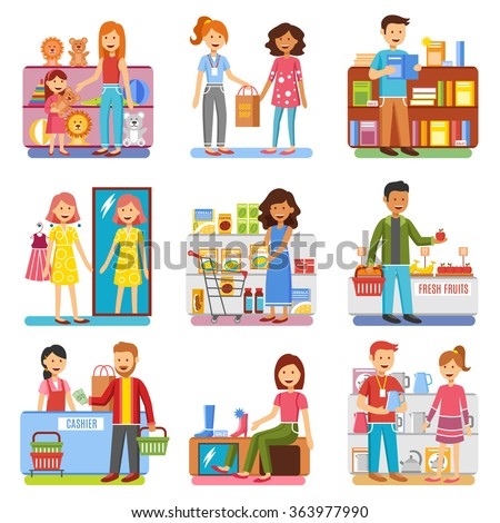 Family shopping in department store for shoes toys and clothes and food flat pictograms collection isolated vector illustrations  - stock vector