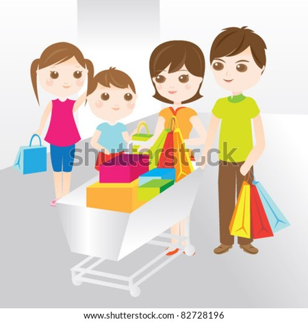 Family shopping with shopping cart - stock vector