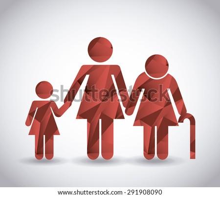 family silhouette design, vector illustration eps10 graphic  - stock vector