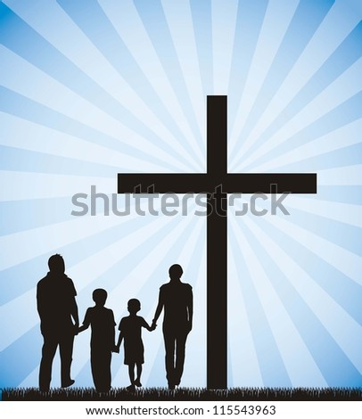 family silhouette on the cross over sky background. vector