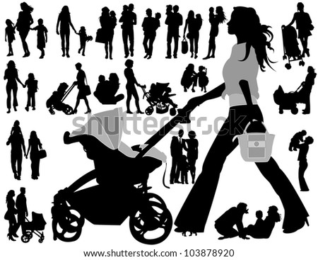 Family silhouettes - stock vector