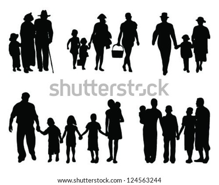 Family silhouettes-vector - stock vector