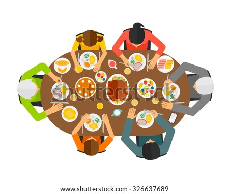 dinner table top view. family sitting at dining table, top view. big eating festive dinner, vector dinner table view