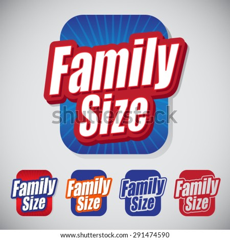 Family Size Icon Seal with style and color variations  - stock vector