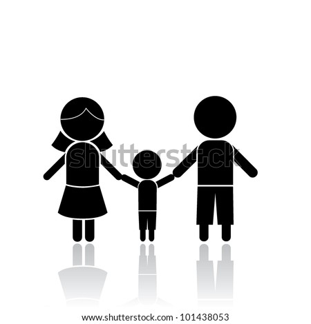 family stick figure as symbols, signs and others