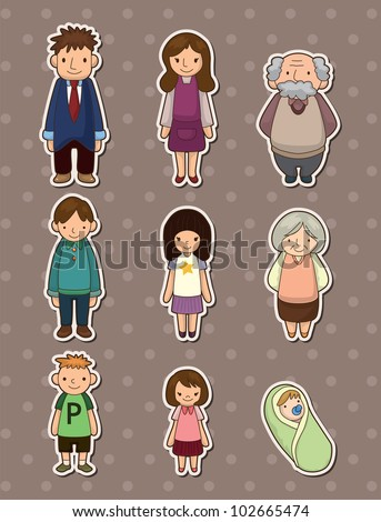 family stickers - stock vector