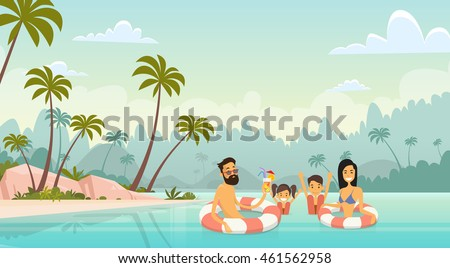 Family Swimming Holiday Sea Seaside Summer Vacation Parents With Two Children Vector Illustration