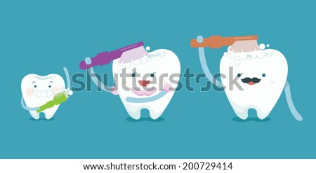 Family teeth are brushing  - stock vector