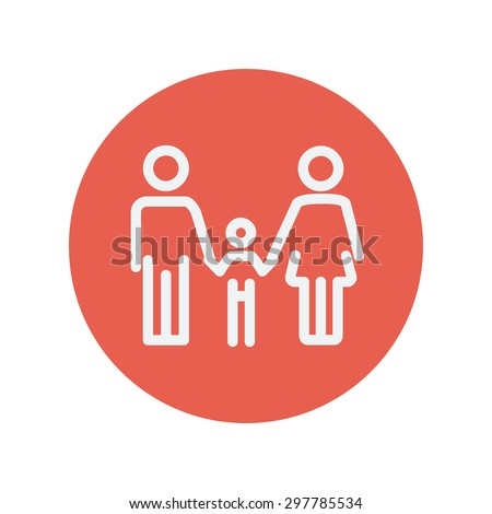 Family thin line icon for web and mobile minimalistic flat design. Vector white icon inside the red circle - stock vector