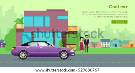 Family transport banner. Family couple standing near modern house and sedan flat vector illustrations. Buying new car for family needs. Personal transport. For car dealer, shop landing page design