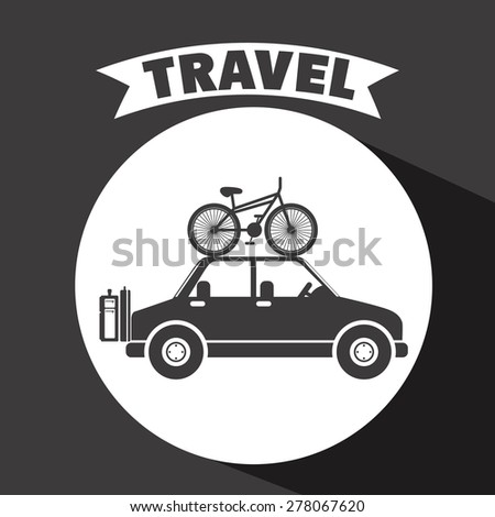 Family travel design over black background, vector illustration - stock vector