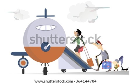 Family travel. Man, woman and a baby take a plane   - stock vector