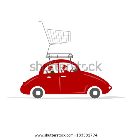 Family traveling by red car with trolley - stock vector