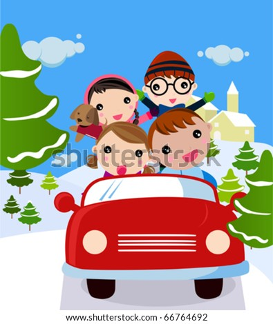 Family  traveling on winter vacation