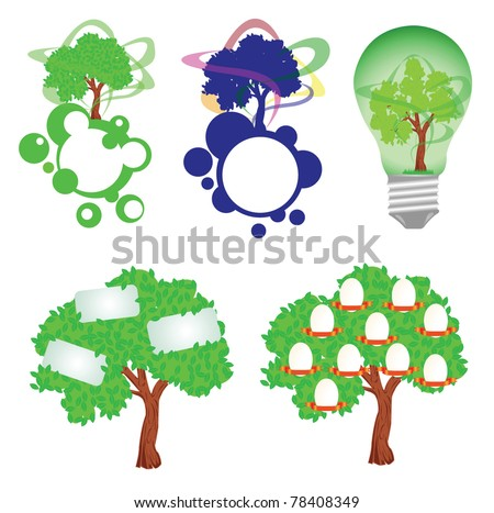 Family tree, eco energy bulb,tree with stickers, tree siluets on the planet stickers - stock vector