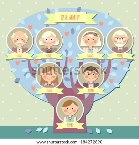 family tree for a boy - stock vector