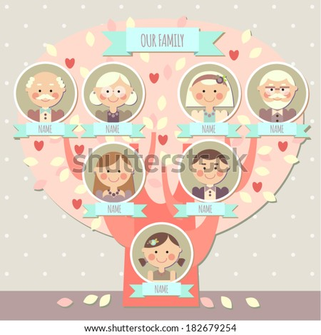 family tree for a girl - stock vector