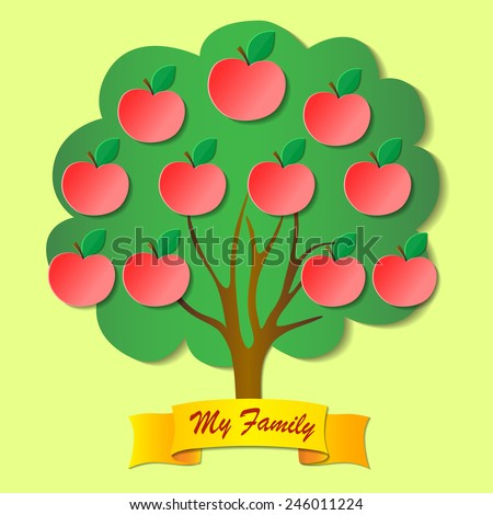Family tree the place for pictures. Vector illustration with the image of Apple. - stock vector