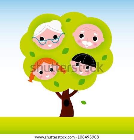 Family tree with grandparents and kids - stock vector