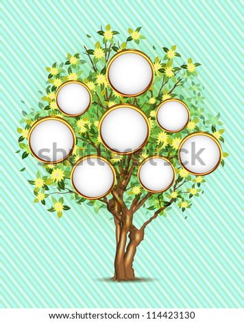 Family tree with place for your photos or text, vector illustration, eps10, 3 layers, easy editable! - stock vector
