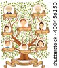 Family tree with portraits of family members vector illustration - stock vector
