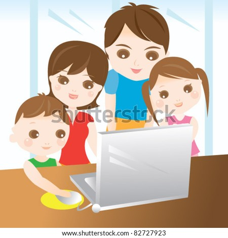 Family using computer together