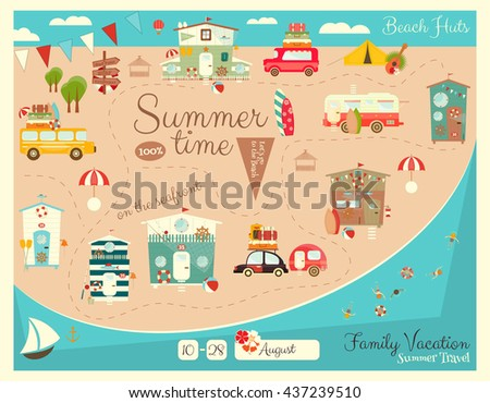 Family Vacation Card. Beach Huts, Caravans, Cars on Summer Poster. Seafront. Camping. Vector Illustration. - stock vector