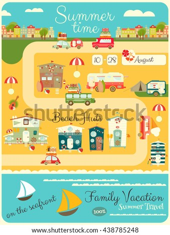 Family Vacation Card. Beach Huts, Caravans, Cars on Summer Poster. Seafront. Camping. Vertical Format Poster. Vector Illustration. - stock vector