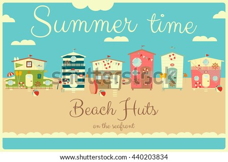 Family Vacation Card. Beach Huts on Seafront. Summer Poster. Camping. Vector Illustration. - stock vector