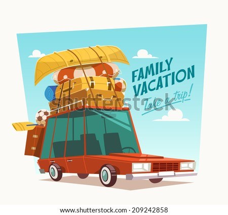 Family vacation. Vector illustration. - stock vector