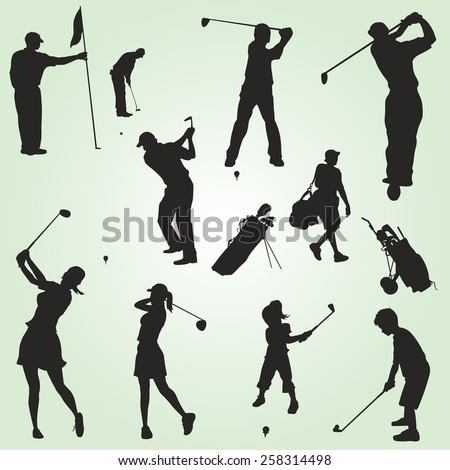 Family vector golf silhouettes figures - stock vector