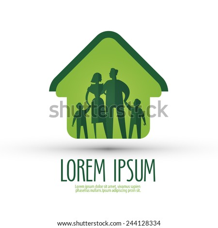 family vector logo design template. house or people icon. - stock vector