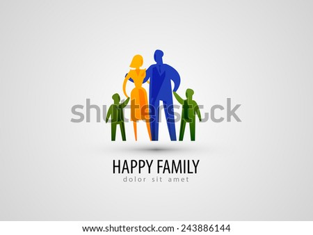 family vector logo design template. parents or people icon. - stock vector