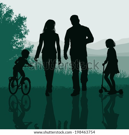 Family walking in a park - stock vector