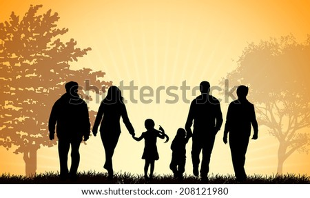 Family walking together outdoors - stock vector
