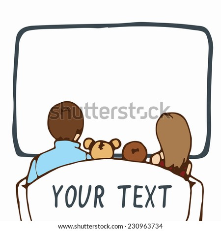 Family watching television, head silhouettes, space for text, eps8. - stock vector