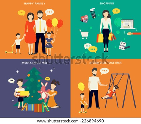 Family with children kids people concept flat icons set of parenting, shopping, time spending and christmas celebrating - stock vector