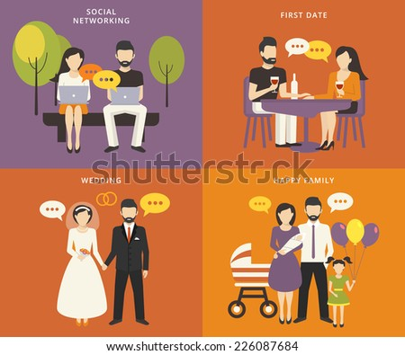 Family with children people concept flat icons set of social networking and flirting using laptops, first dating in the restaurant, wedding and parenting. Family with kids vector illustration - stock vector