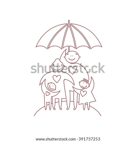 Family with children under umbrella. Line vector illustration