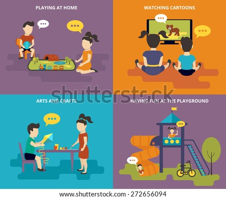 Family with concept flat icons set of childrens railway, cartoons, crafts and playground - stock vector