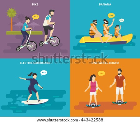 Family With Kids Flat Vector Icons Set Of Riding Bicycle Banana In The Sea