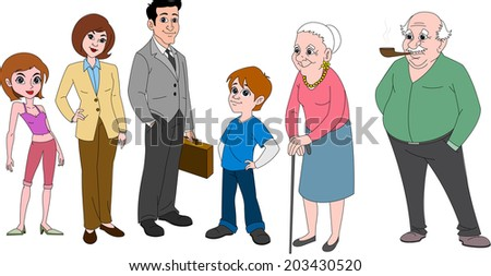 Family with mom & dad in business attire, young brother, sister and grandparents - stock vector