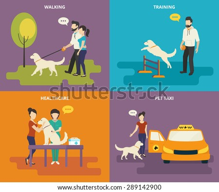 Family with pet concept flat icons set of walking in the park, passing medical exam, pet training and taxi - stock vector