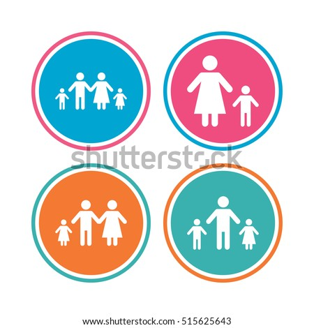 Family Two Children Icon Parents Kids Stock Vector Royalty Free