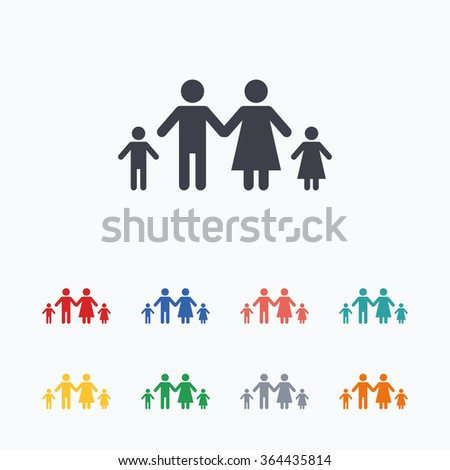 Family with two children sign icon. Complete family symbol. Colored flat icons on white background.